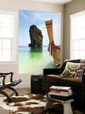 Wooden Boat and Limestone Island Surrounding Poda Island Prints by Christian Aslund