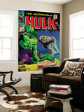 Marvel Comics Retro: The Incredible Hulk Comic Book Cover No.104, with the Rhino (aged) Prints