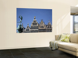 Statue of Brabo Fountain in Grote Markt (Town Square) with Guilds Houses in Background Poster by Bruce Bi