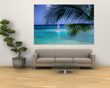 Palm Tree, Swimmers and a Boat at the Beach, Waikiki, U.S.A. Print by Ann Cecil