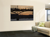 People Silhouetted on Footbridge over River Seine at Sunset Prints by Will Salter