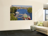 Boats Moored on Volga River Print by Tim Makins