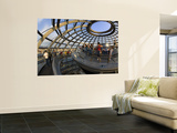 Visitors Inside Glass Dome on Top of Parliamentary Building, the Reichstag, Mitte Prints by Mark Daffey