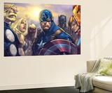Ultimates 3 No.5 Cover: Captain America, Hawkeye, Black Panther, Iron Man, Wasp, Thor and Sif Plakat af Joe Madureira
