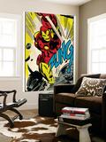 Marvel Comics Retro: The Invincible Iron Man Comic Panel, Fighting, Charging and Smashing (aged) - Reprodüksiyon