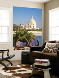 Hotel Charleston Cartagena Swimming Pool Towels and Dome of San Pedro Claver Church Posters by Jane Sweeney