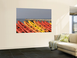Orange and Red Rental Kayaks on Beach Print by Pascale Beroujon