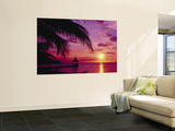 Sunset, Palm Trees, Beach, Water, Ocean, Montego Bay Jamaica Posters
