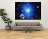 Image de la Terre et d'une étoile qui brille Poster par Ron Russell