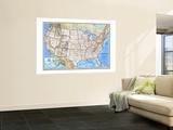 Kort over USA fra 1993 Kunst af National Geographic Maps