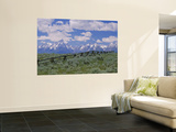 Clouded Sky Over Snow Covered Mountains, Grand Teton, Grand Teton National Park, Wyoming, USA Poster
