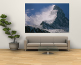 Snow Blows off of the Matterhorn Above Zermatt Prints by Gordon Wiltsie