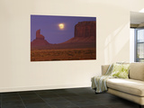 Moon Shining over Rock Formations, Monument Valley Tribal Park, Arizona, USA Posters