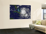 Satellite View of the Eye of Hurricane Irene as it Enters the Bahamas Plakater af Stocktrek Images