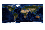 Topographic & Bathymetric Shading of Full Earth Poster