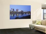 Buildings at the Waterfront Lit Up at Dawn, Des Moines River, Des Moines, Iowa, USA Prints