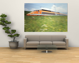 TGV High-Speed Train Moving Through Hills, Blurred Motion Print
