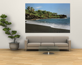 Surf on the Beach, Black Sand Beach, Maui, Hawaii, USA Posters