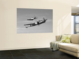 A P-38 Lightning and P-51D Mustang in Flight Print by  Stocktrek Images