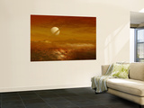 Saturn Above the Thick Atmosphere of its Moon Titan Posters by  Stocktrek Images