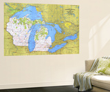 1973 Close-up USA, Wisconsin, Michigan, and the Great Lakes Map Posters