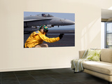 A Shooter Launches an F/A-18E Super Hornet from Uss Ronald Reagan Poster by  Stocktrek Images