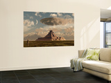 A Reptoid Greets an Incoming Flying Saucer Above a Pyramid. Posters by  Stocktrek Images