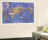 1981 World Ocean Floor Map Poster