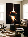 A Concentrated Gamma Ray Strikes a Planet, Tearing it Open Print by  Stocktrek Images