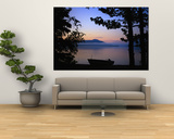 Silhouette of a Motor Boat on the Shores of a Bay in Alaska Poster