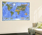 1975 Physical World Map Poster