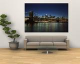 Manhattan Skyline and Brooklyn Bridge at Dusk, New York City, New York, USA Print by Amanda Hall