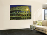 Ancient Building Lit Up at Night, Coliseum, Rome, Italy Art