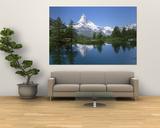Lake, Mountains, Matterhorn, Zermatt, Switzerland Plakater