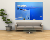 Building on Water, Boats, Fira, Santorini Island, Greece Prints