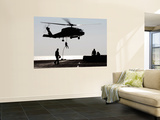Personnel Fast-Rope out of an SH-60F Seahawk Helicopter Print