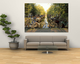 Bicycles on Bridge Over Canal, Amsterdam, Netherlands Print