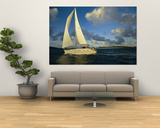 Sailboat Cruising off the Coast of the British Virgin Islands Print by Skip Brown