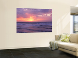 Cayman Islands, Grand Cayman, 7 Mile Beach, Caribbean Sea, Sunset over Waves Posters