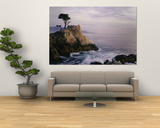 Lone Cypress Tree on a Rocky Point Near Pebble Beach Posters by Mark Cosslett