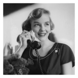 Vogue - August 1953 - Woman Talking on Telephone Regular Photographic Print by Karen Radkai