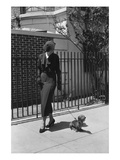 Vogue - August 1934 - Woman Walking her Pet Dachshund Regular Photographic Print by Lusha Nelson