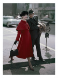 Glamour - September 1956 - Couple Stepping off of a Curb Photographic Print by Sante Forlano
