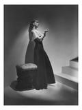 Vogue - December 1934 - Lanvin Gown Posed Beside Stairs Photographic Print by Horst P. Horst