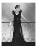 Vogue - July 1934 - Ruffled Black Dress by Lelong Regular Photographic Print by Edward Steichen
