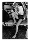 Glamour - May 1971 - Sitting in Back of Station Wagon Premium Photographic Print by Puhlmann Rico