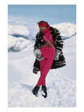 Vogue - November 1968 - Marisa Berenson on a Glacier Regular Photographic Print by Arnaud de Rosnay