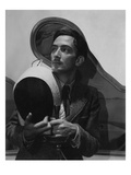 Vogue - November 1936 - Salvador Dali with Fencing Helmet Premium Photographic Print by Cecil Beaton