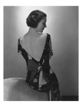 Vogue - February 1934 - Model in Printed Dress with Low-Cut Back Regular Photographic Print by Edward Steichen