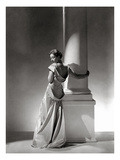Vogue - September 1934 - Vionnet Dress Modeled by Column Photographic Print by George Hoyningen-Huené